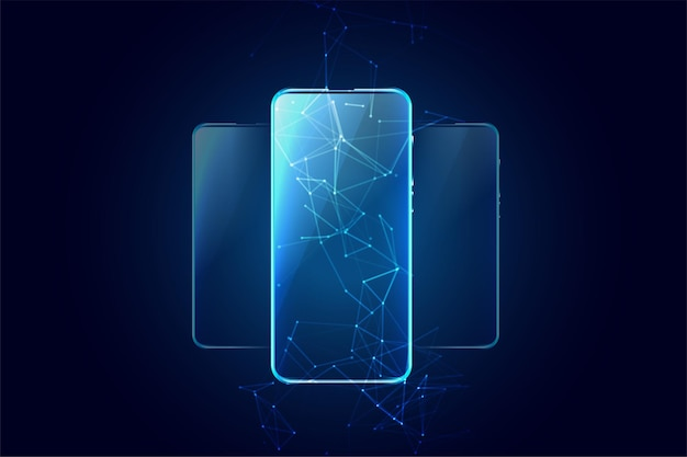 Tecnología móvil con tres teléfonos
