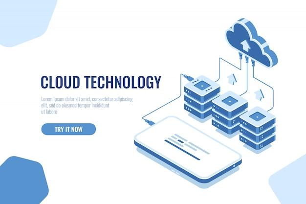 Tecnología de nube almacenamiento y transferencia de datos isométricos, descarga de datos de teléfonos móviles