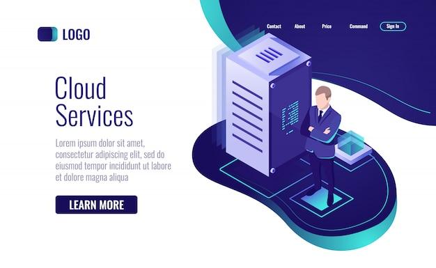 Tecnología en la nube, el concepto de servicio para el almacenamiento de datos y el procesamiento de la información.