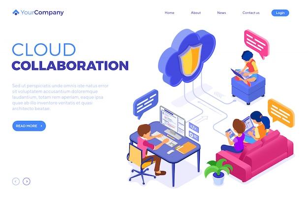 Tecnología de nube de educación de colaboración en línea. plantilla de página de destino