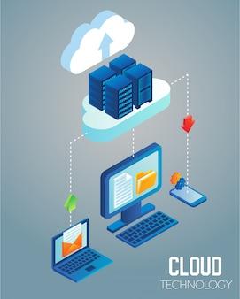Tecnología en la nube isométrica