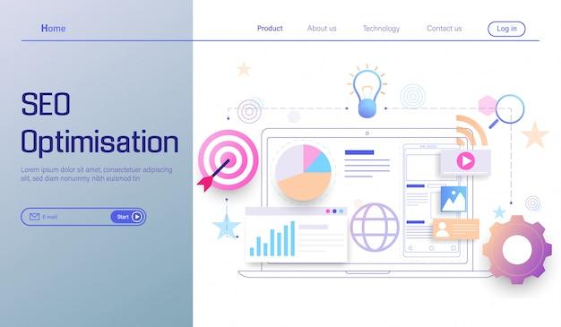 Tecnología de optimización seo, análisis de motores de búsqueda, análisis social y de datos.