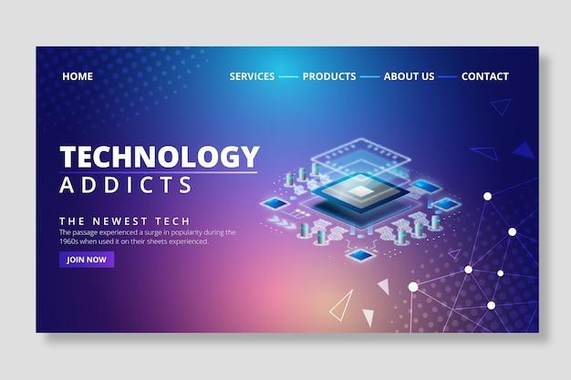 Tecnología y página de destino futura.