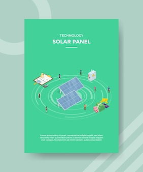 Tecnología panel solar peolpe de pie alrededor de gráfico de dinero
