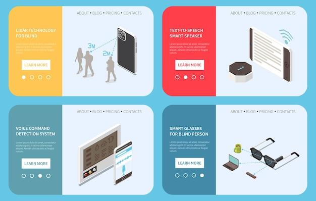Tecnología para personas con discapacidad, conjunto isométrico de cuatro banners horizontales con texto editable y botones de página.