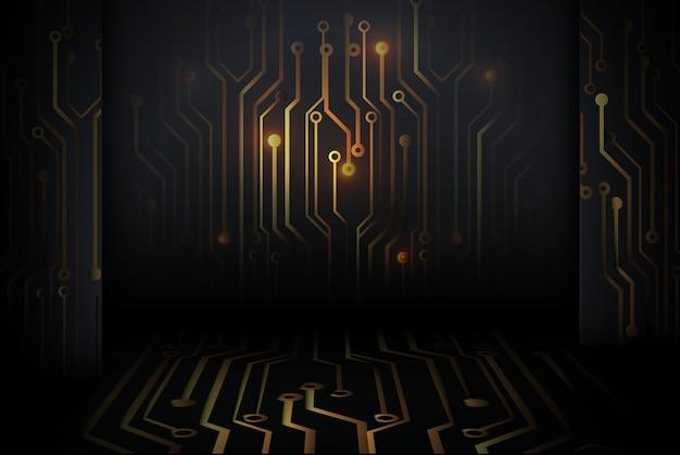 Tecnología de placa de circuito de oro abstracto de alta tecnología digital sobre fondo de pared negra.