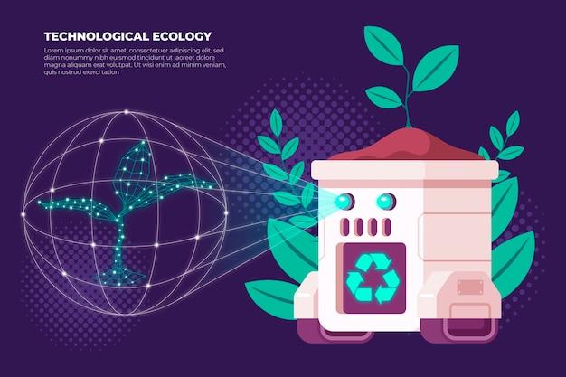 Tecnología y planta para el concepto de ecología.