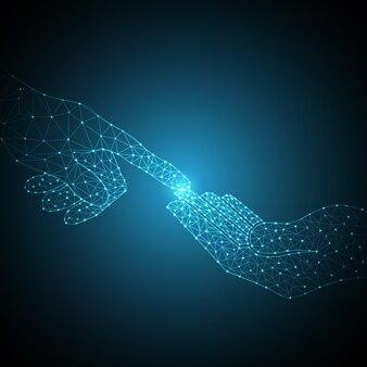 Tecnología polígono mano táctil
