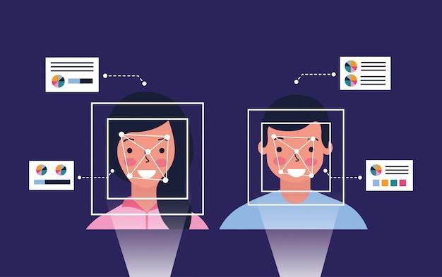Tecnología de proceso biométrico de hombre y mujer.