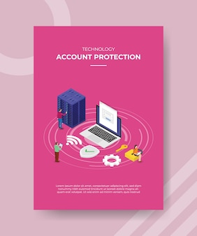 Tecnología de protección del servidor, ingeniero de personas alrededor del servidor, equipo portátil, configuración, escudo, conexión de red, clave