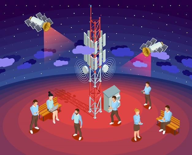 Tecnología pública inalámbrica satélites cartel isométrico