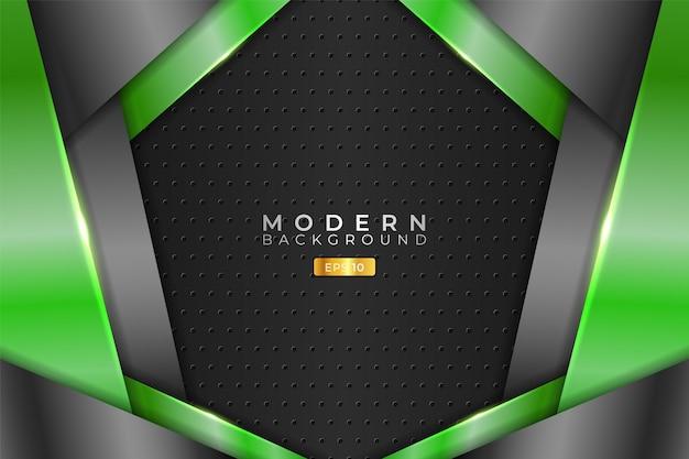 Tecnología realista de fondo moderno superpuesto 3d verde metálico y gris
