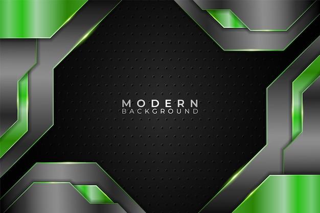 Tecnología realista de fondo moderno superpuesto verde metálico y gris