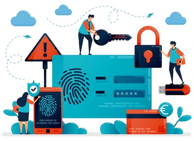 Tecnología de reconocimiento de huellas digitales para seguridad de identificación de usuario. aplicación de escáner táctil para proteger los datos de información personal. identificación de protección de seguridad cibernética para proteger el pago. inicio de sesión con huella digital