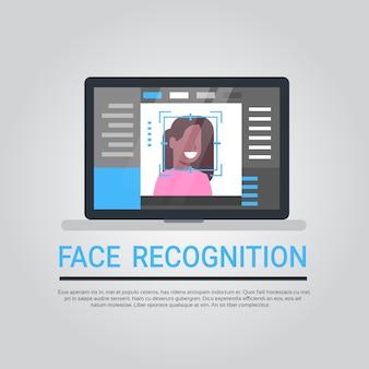 Tecnología de reconocimiento de rostro ordenador portátil sistema de seguridad escaneo afroamericano usuario femenino bi