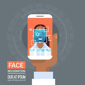 Tecnología de reconocimiento de rostro, teléfono inteligente, escaneo, retina ocular, de una mujer afroamericana, biométrica, iden