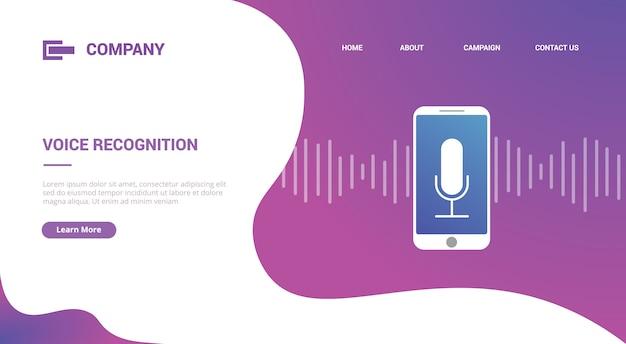 Tecnología de reconocimiento de voz con teléfono inteligente y onda de sonido para plantilla de sitio web o banner de plantilla de página de inicio de aterrizaje