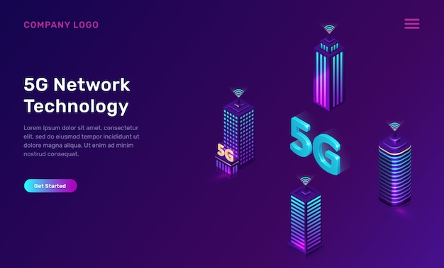 Tecnología de red 5g, concepto isométrico