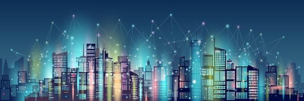 Tecnología de red inalámbrica de comunicación ciudad inteligente.