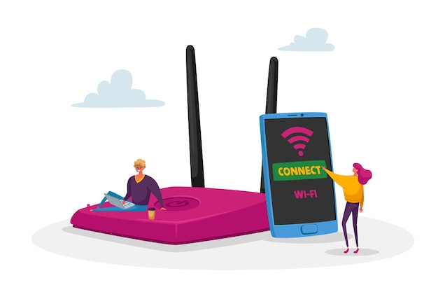 Tecnología de red moderna, punto de acceso wi-fi gratuito