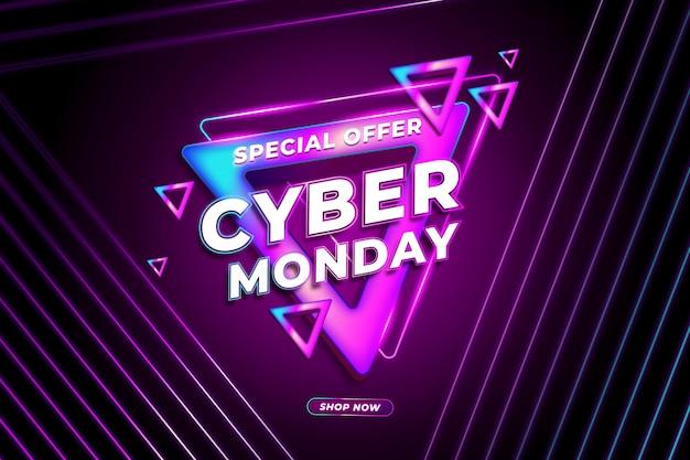 Tecnología retro realista cyber monday con fondo abstracto