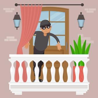 Tecnología de robo, persona de sexo masculino en la ilustración de máscara negra. ladrón de gángsters en el exterior de la casa del balcón, rompiendo el bloqueo urbano.
