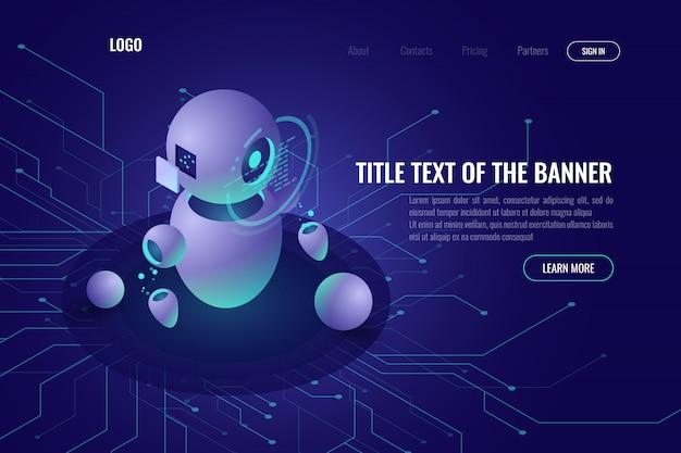 Tecnología robótica, educación de máquinas e inteligencia artificial ai icono isométrico