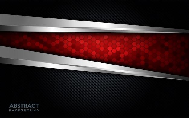Tecnología roja abstracta moderna con línea plateada y fondo de carbono oscuro.