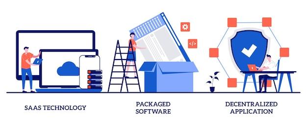 Tecnología saas, software empaquetado, concepto de aplicación descentralizada con personas pequeñas