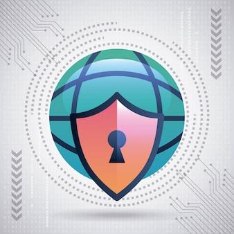 Tecnología de seguridad cibernética gran mundo escudo protección circuito binario