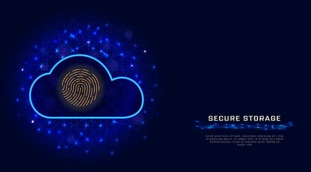 Tecnología de seguridad cibernética. icono de escáner de huellas digitales de protección de datos de almacenamiento en nube