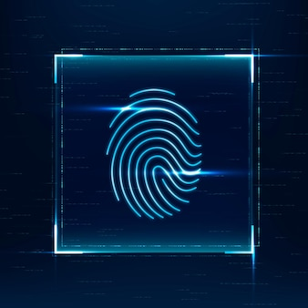 Tecnología de seguridad cibernética de vector de escaneo biométrico de huellas dactilares