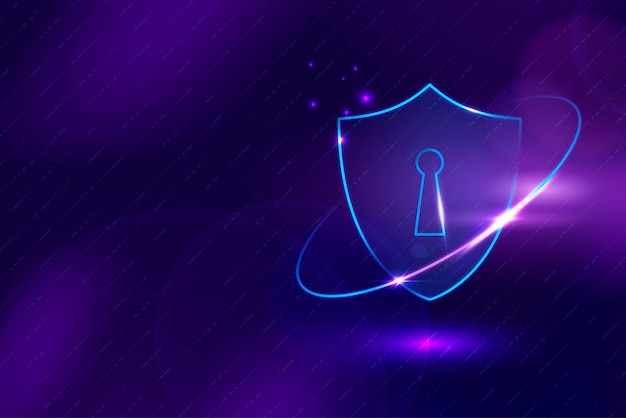 Tecnología de seguridad cibernética de vector de fondo de protección de datos en tono púrpura