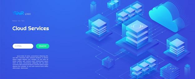 Tecnología de servicio de computación en la nube, centro de datos en la nube y concepto de tecnología de análisis de big data ilustración de vector isométrica de plantilla web