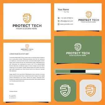 Tecnología sistema de protección logo premium