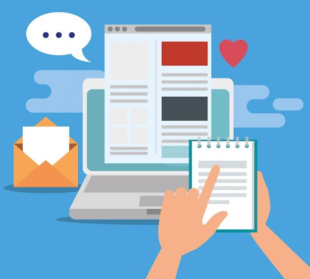 Tecnología del sitio web para portátiles y nota en las manos