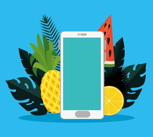 Tecnología smartphone con frutas y hojas exóticas.