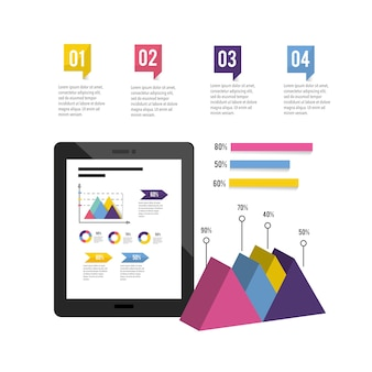 Tecnología de tableta con diagrama de negocios de infografía