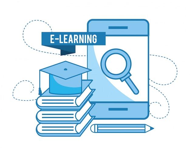 Tecnología de teléfono inteligente con tapa de graduación y libros.