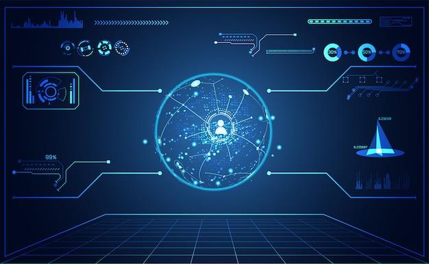 Tecnología ui mapa futurista hud interfaz holograma comunicación