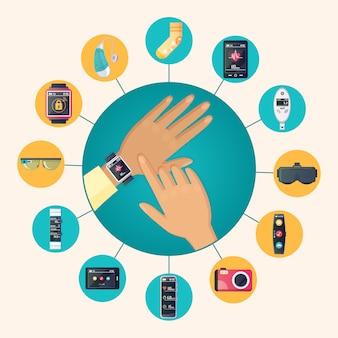 Tecnología usable electrónica productos círculo plano iconos composición cartel con reloj de pulsera