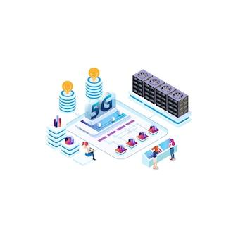 Tecnología de velocidad de internet isométrica moderna para el desarrollo de tecnología de comunicación