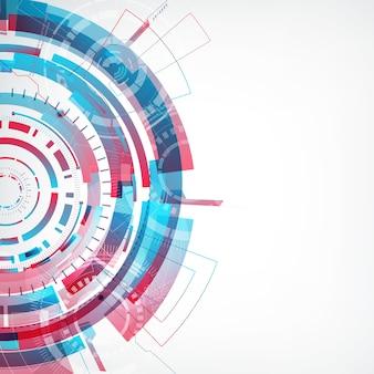 Tecnología virtual abstracta moderna con forma redonda colorida en el lado izquierdo plano