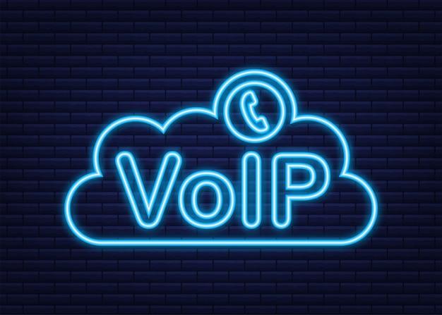 Tecnología voip, voz sobre ip. banner de llamadas por internet. icono de neón. ilustración vectorial.