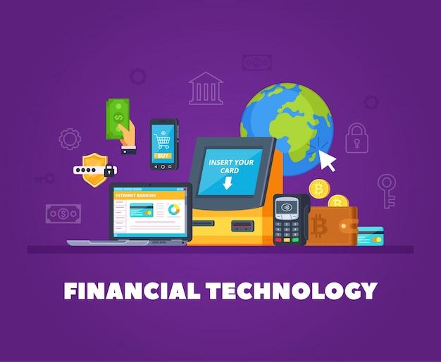 Tecnologías financieras composición ortogonal plana con transacciones bancarias automáticas en línea símbolos de seguridad de compras en teléfonos inteligentes
