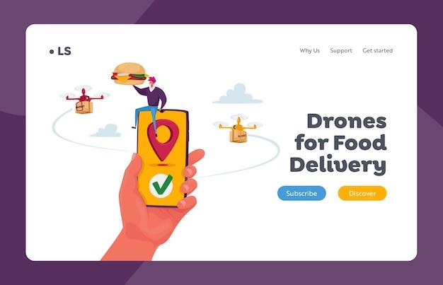 Tecnologías futuristas en correo postal y plantilla de página de destino del servicio de envío