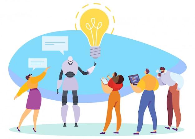 Tecnologías innovadoras, robot que presenta idea de negocio, ilustración vectorial