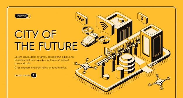 Tecnologías inteligentes para el futuro ciudadano de la ciudad vector isométrico web banner, plantilla de página de destino.