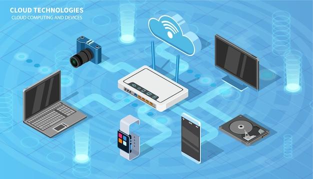 Tecnologías en la nube. isométrico para sus proyectos.