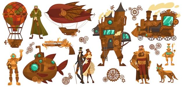 Tecnologías steampunk, transporte vintage de fantasía y personajes de dibujos animados de personas, ilustración